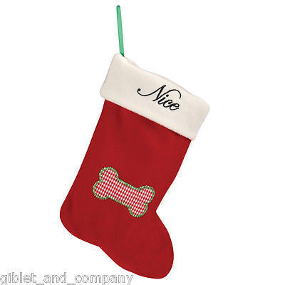 NAUGHTY & NICE CAT STOCKING - Soft Fleece Gingham Mouse for Christmas Cat Toys