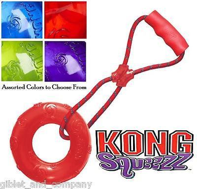 KONG LARGE SQUEEZZ RING with HANDLE - Squeaker Ring Tug Rope Rubber-type Dog Toy