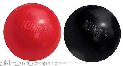 KONG RUBBER BALL Sm/Med-Lg Red Black High Bounce Puncture Resistant Dog Toy