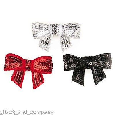 NINA SEQUIN BARRETTES - Lots 1/3/6/12 Metal Clip Dog Barette Sequins Sparkle Bow