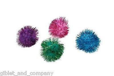 "GLITTER POM POM BALLS 1.75"" - 2"" CAT TOYS Sparkly Puffy Shiny Lightweight Tinsel"