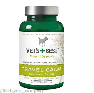 VET'S BEST TRAVEL CALM for DOGS - 40 Chewable Tablets Valerian Root Ginger USA