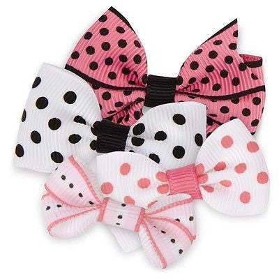 OLIVIA BOWS - for Dogs Grosgrain Ribbon Polka Dots Pink White Black Rubber Band
