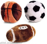 PLUSH SPORTS BALL DOG TOY - Soft Plush Great for Fetch Indoor Play Dog Games
