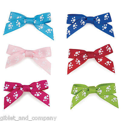 LOT of 45 TEENY PAWS BOWS for DOGS - Grosgrain Ribbon Bow Paw Print Hair Band