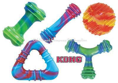 KONG SWIRL DOG TOY MEDIUM - Bone Dumbbell Squeaky Squeaker Fetch Colorful Toy