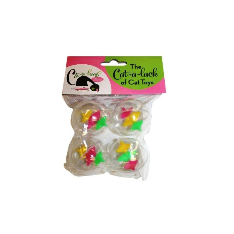 TWIRLY BALLS CAT TOYS4-PACK Clear Hard Plastic Balls Spinning Flags inside