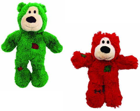 KONG HOLIDAY WILD KNOTS BEARS Medium/Large Squeaker MinimalStuffing Rope Dog Toy