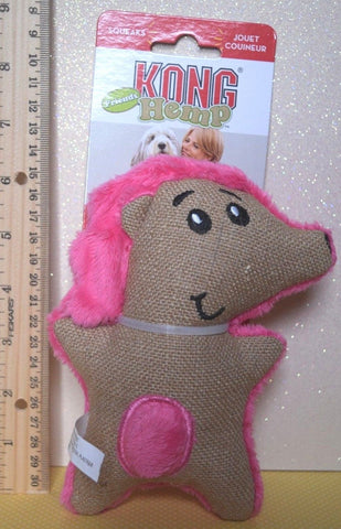 KONG HEMP FRIENDS SMALL PINK HEDGEHOG Crinkle Squeaker Plush Dog Toy