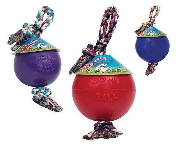 "ROMP N ROLL 8"" BALL - Floats Jolly Pets Water Cotton Rope thru Ball Tug Dog Toy"