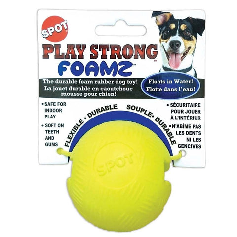 PLAY STRONG FOAMZ BALL DOG TOY Durable Foam Rubber Flexible Soft Teeth Floats
