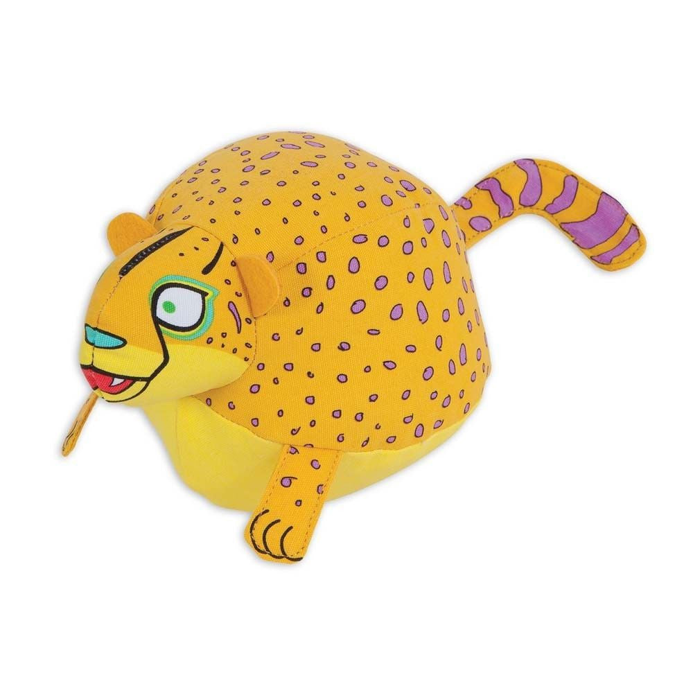 FAT CAT PLUMPIES CHEETAH Dog Toy Plush Canvas Squeaker Ball Round