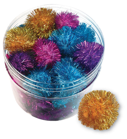 "GLITTER POM POMS 1.5""-2"" Lots 5/10/24/48 Asst Colors Shiny Kitten Cat Toys"