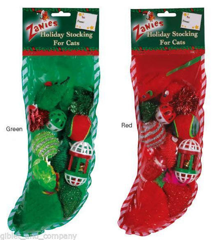 HOLIDAY STOCKING for CATS - 12 Cat Toys Asst Glitter Pom Balls Bells Sisal Plush