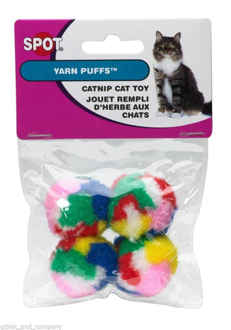 SPOT KITTY YARN PUFFS 4pk Soft Squish-able Multicolored Pom Pom Balls Cat Toys