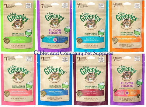 FELINE GREENIES 2.5 oz Crunchy Dental Cat Treats Cleans Teeth Freshen Breath