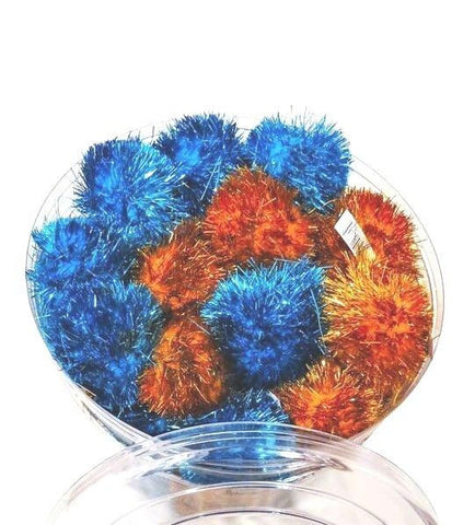 "GLITTER POM POMS CAT TOYS 50mm 2"" Sparkly Tinsel Puff Ball Kitten"