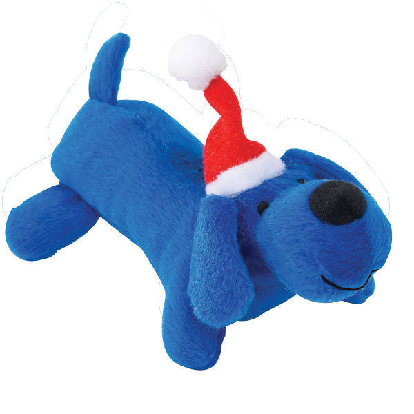SANTA'S BIG LIL' YELPERS - Blue Christmas Soft Plush Squeaker Santa Hat Dog Toy