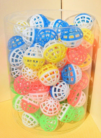 LATTICE BALLS CAT TOYS Plastic Ball Metal Jingle Bell Bright Two Tone