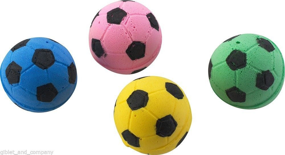 SPONGE SOCCER BALLS 4-PACK Soft Sponge Foam Lightweight Colorful Cat Toys E2302