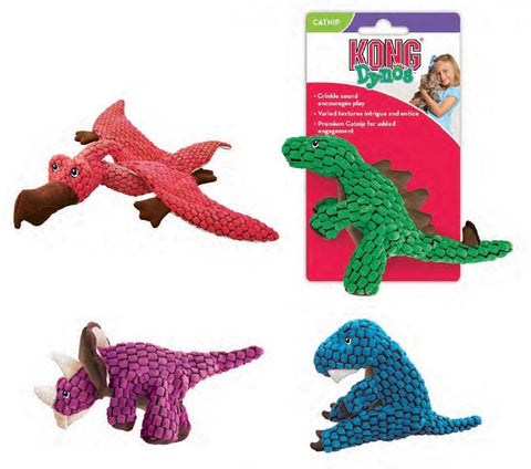KONG CAT DYNOS Plush Cat Toy Crinkle Material Catnip Multi Textured Dinosaurs