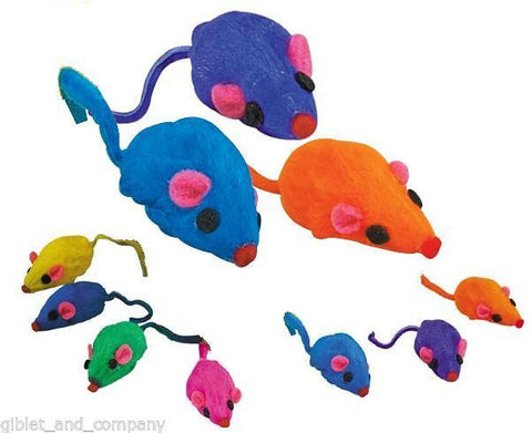 FURRY RAINBOW MICE Lots 5/10/30/60 Real Rabbit Fur Small Cat Kitty Rattles Toys