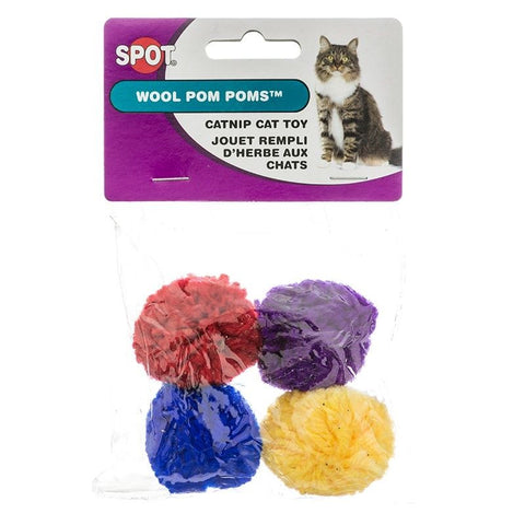 SPOT WOOL POM POMS 4pk Soft Squish-able Asst Colors Yarn Pom Pom Balls Cat Toys