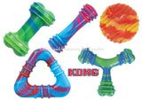 KONG SWIRL DOG TOY LARGE Bone Dumbbell Boomerang Squeak Squeaker Fetch Colorful