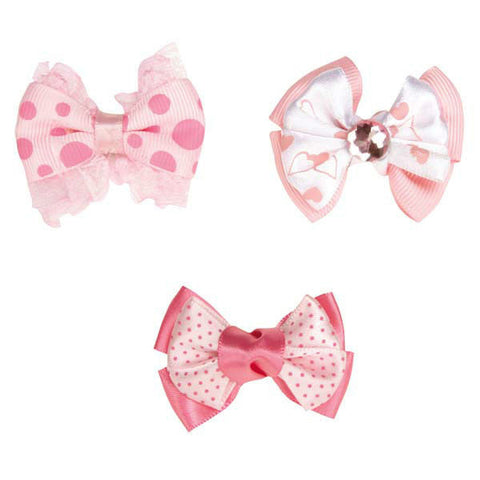 MOLLY BOWS Lots 1/3/12 Ribbon Rubber Band Bow Gemstone Polka Dots Pink Dog Hair