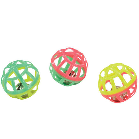 LATTICE JINGLE BALLS - Bulk Lots 25/50 Plastic Balls w/ Bells Kitten Cat Toys