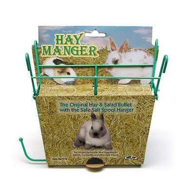 HAY MANGER w/ SALT SPOOL HANGER - Treat Dispenser Rabbit Guinea Pig Salad Greens