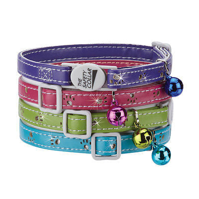SPARKLE PAW CAT COLLAR - Asst Colors Safety Breakaway Buckle w/ Bell