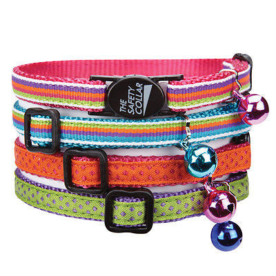 "NYLON w/ RIBBON CAT COLLAR - Adjusts to 8""-12"" Matching Bell Safety Clasp Asst"