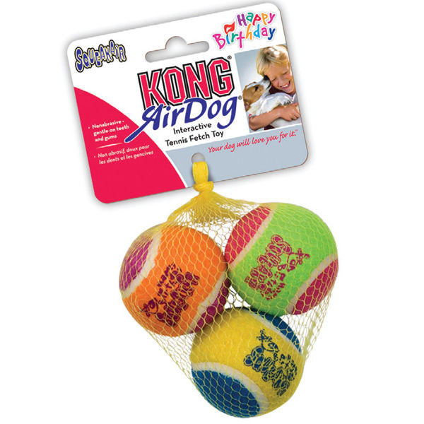 KONG MEDIUM HAPPY BIRTHDAY SQUEAKER TENNIS BALLS 3-pack Party Fun Dog Squeaks