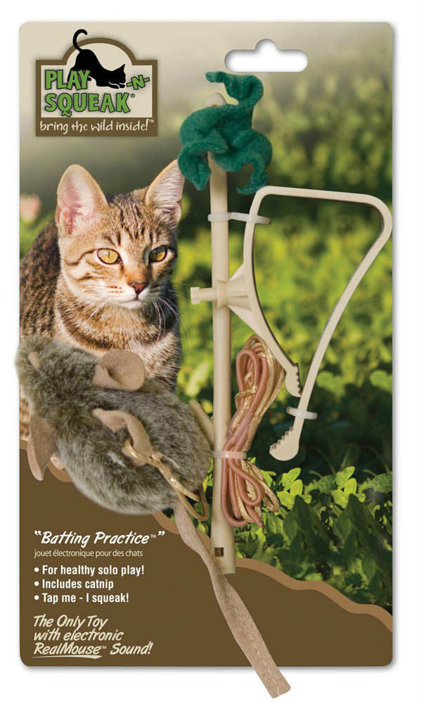 PLAY-N-SQUEAK BATTING PRACTICE - Catnip Squeak Hang from Door Kitten Cat Toy