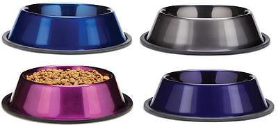 METALLIC STAINLESS STEEL BOWL - Dog Cat Food Water Dish Feeder Non-Skid Base