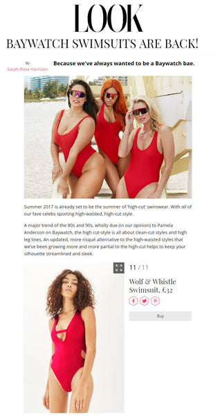 look magazine, baywatch, red swimsuit, wolf & whistle, topshop