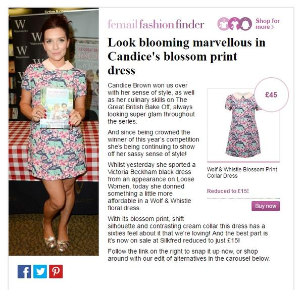 Candice brown wearing wolf and whistle