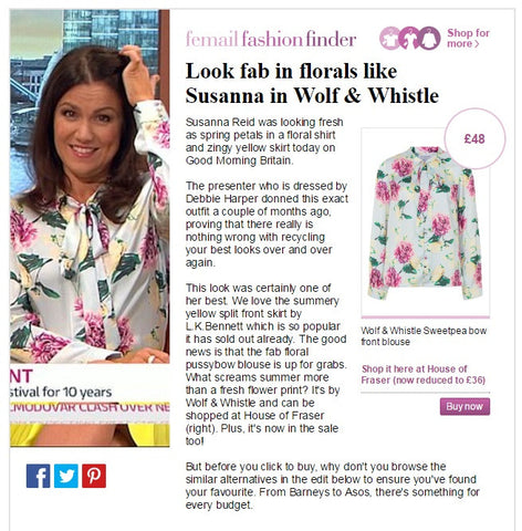 daily mail, susanna reid, good morning britain, wolf & whistle, sweetpea blouse