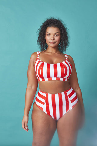 Palm Plunge Belted Swimsuit Curve