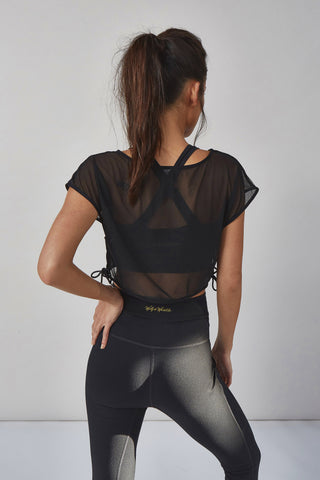 Mesh Crop Top Black