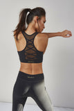 Racer Back Lace Up Bra Black