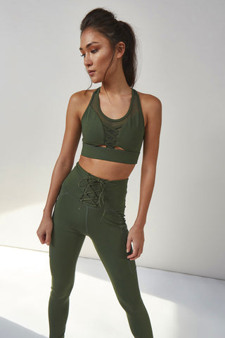 Lace Up Leggings Khaki