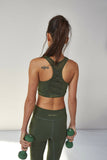 Racer Back Lace Up Bra Khaki