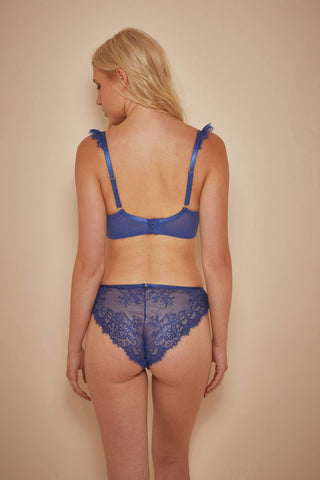 Millie Demi Padded Eyelash Lace Bra Blue