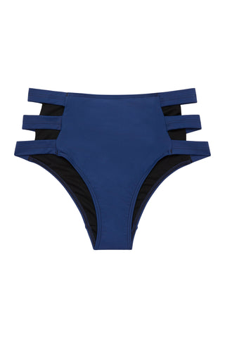 Navy Belted Plunge Swimsuit Curve