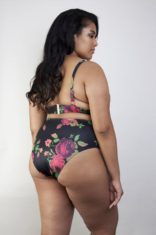 Floral high waist bikini brief curve