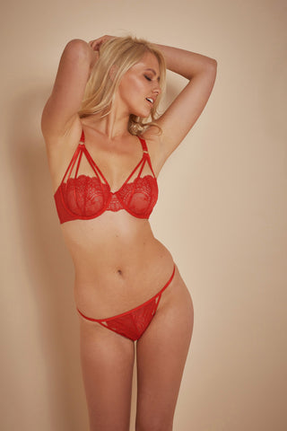 Maribel Red Lace Overlay Strap Bra B - F