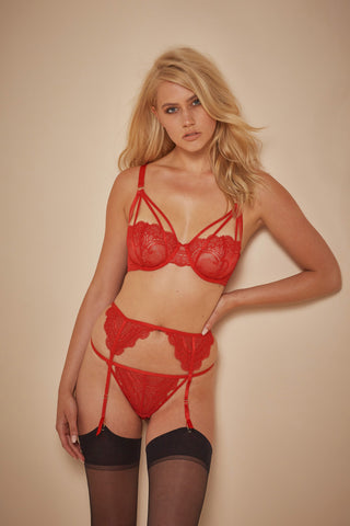 WW x Charlotte McKinney Cara Red Lace Suspender Brief