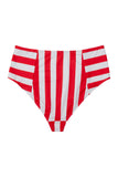 Eco Stripe high waist pant red/white Curve